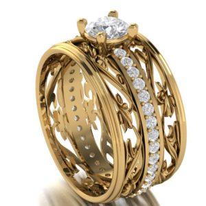 Dámský zlatý prsten Camélie