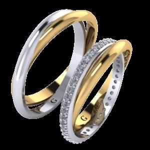 Zlaté snubní prsteny Double