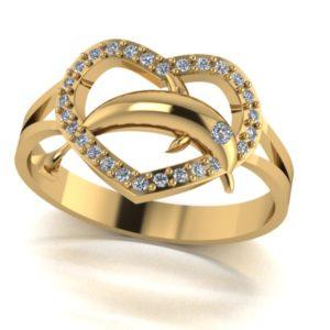 Dámský zlatý prsten Dolphin